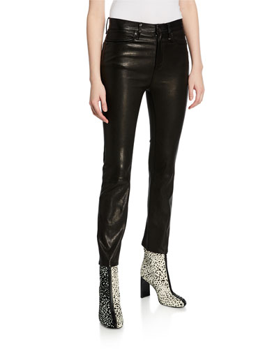 Leather Ankle Cigarette Pants