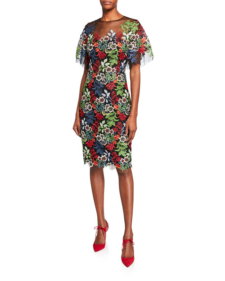 Rickie Freeman for Teri Jon Floral Lace Flounce-Sleeve