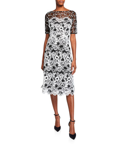 Bateau-Neck Elbow-Sleeve Floral Lace Dress w/ Twin Lace Yoke