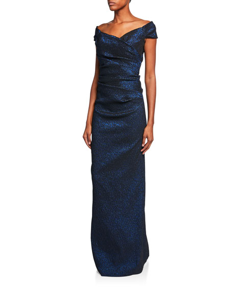 a1e0142fc78 Rickie Freeman For Teri Jon Off-The-Shoulder Draped Jacquard Gown In Navy