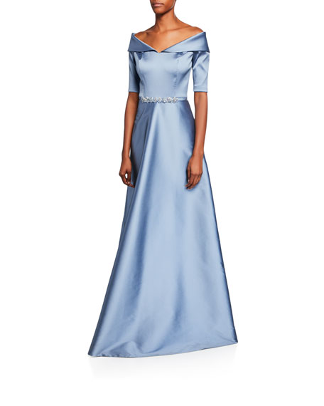 Rickie Freeman For Teri Jon Dresses OFF-THE-SHOULDER ELBOW-SLEEVE STRETCH GAZAR GOWN W/ BEADED WAIST
