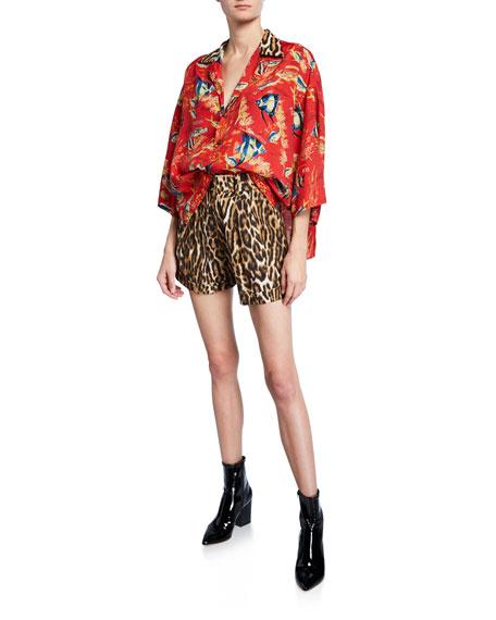 Pleated High-Rise Leopard-Print Shorts
