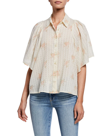The Great Tops THE BUTTERFLY FLORAL-PRINT BUTTON-UP HALF-SLEEVE TOP