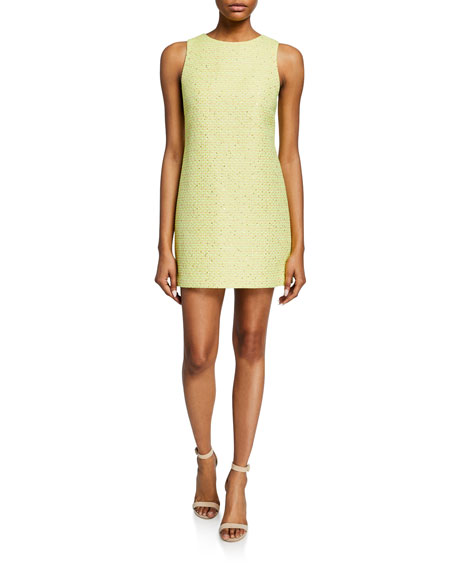 Alice + Olivia Clyde Sleeveless Tweed Mini Dress