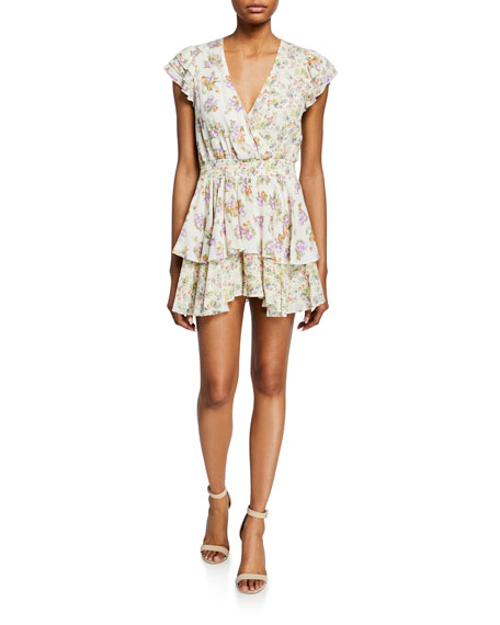 Alice + Olivia Mariska Floral-Print V-Neck Short-Sleeve Ruffled