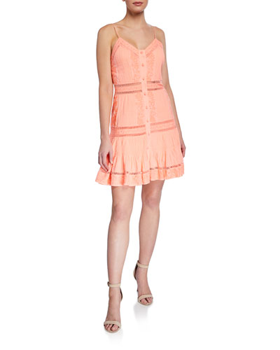 Marci Embroidered Pintuck Button-Down Dress