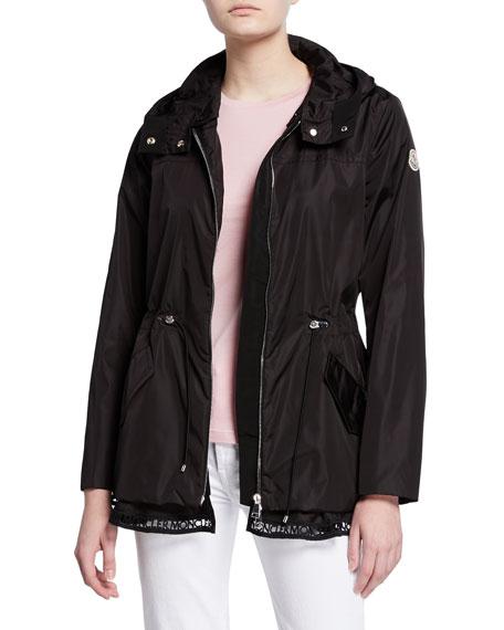 Moncler Loty Logo-Trim Peplum Rain Jacket