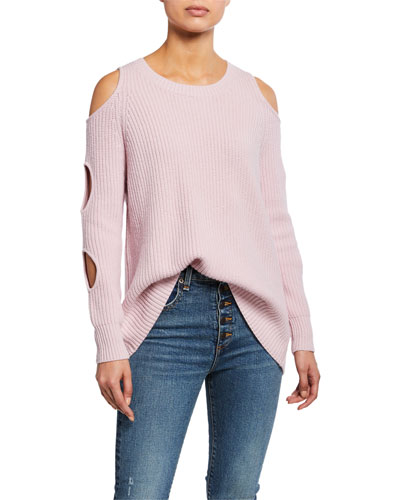 Galileo Jewel-Neck Cold-Shoulder Wool Sweater with Cutouts