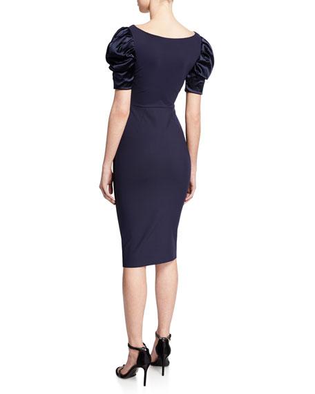 Meve V-Neck Satin Puff-Sleeve Dress w/ Bead Embellished Neckline