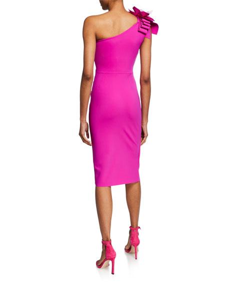 c41674b7a44 Chiara Boni La Petite Robe Gosia One-Shoulder Sleeveless Dress with Flower  Mesh Detail