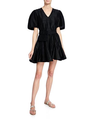 Vivienne Puff-Sleeve Mini Dress w/ Belt Bag