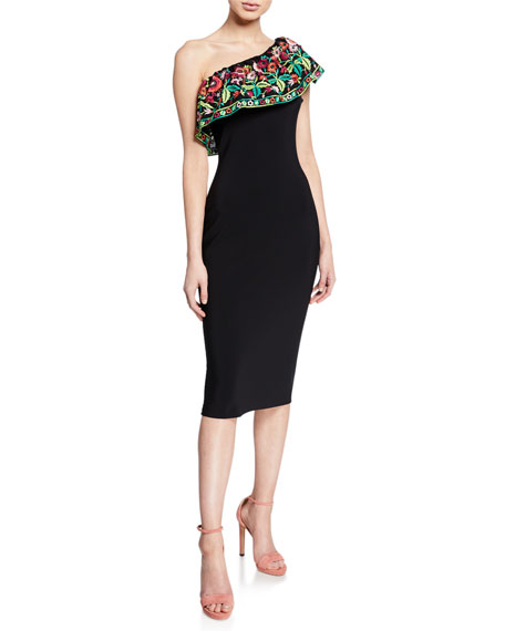 Chiara Boni La Petite Robe Imade Floral-Embroidered One-Shoulder