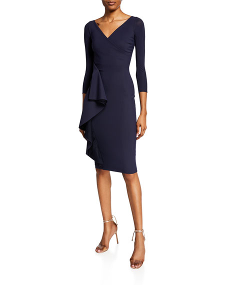 Fadile V-Neck 3/4-Sleeve Dress with Side Ruffle Detail