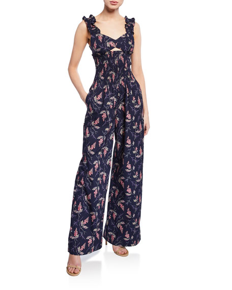 Rebecca Taylor Suits IVIE FLORAL SLEEVELESS JUMPSUIT