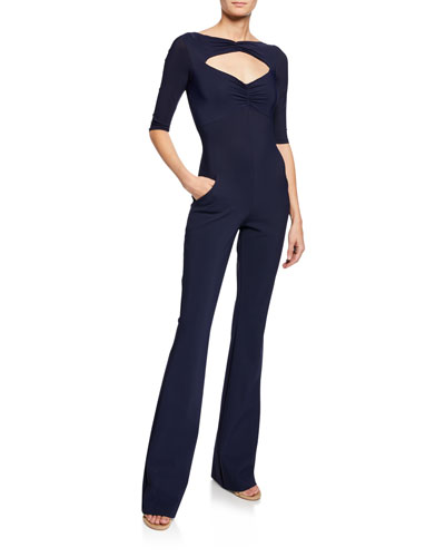 Olimpas Keyhole Elbow-Sleeve Straight-Leg Jumpsuit
