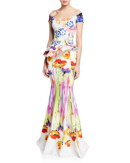 acfee50a0c0c33 Chiara Boni La Petite Robe Lady Printed Off-the-Shoulder Cap-Sleeve Peplum  Gown w/ Rosette