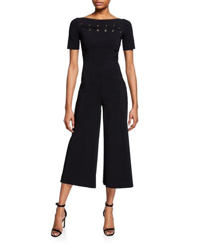 Sedipeh Short-Sleeve Wide-Leg Crop Jumpsuit w/ Grommet Details