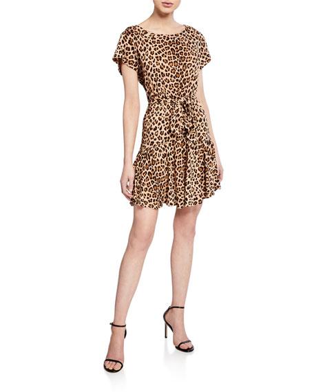 Rebecca Taylor Dresses Tie-Front Linen Leopard-Print Short Dress, BISCUIT