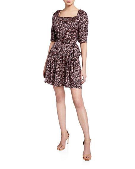 Rebecca Taylor Dresses Francesca Floral Square-Neck Short Dress, NAVY COMBO