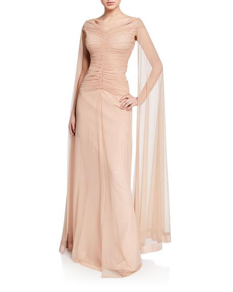27e28ec4f03 Chiara Boni La Petite Robe Aytana V-Neck Cap-Sleeve Illusion Gown w  Ruched  Bodice   Cape