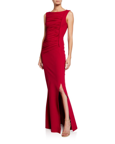 Dacia Boat-Neck Sleeveless Ruched Gown with Slit