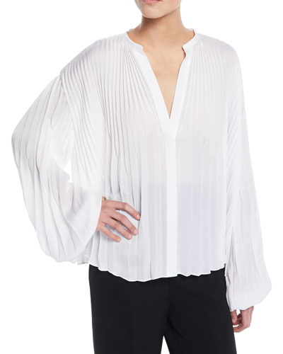 Pleated V-Neck Blouson-Sleeve Blouse