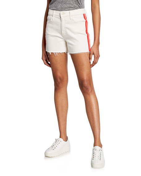 Mother Shorts THE SINNER FRAYED SHORTS W/ STRIPES