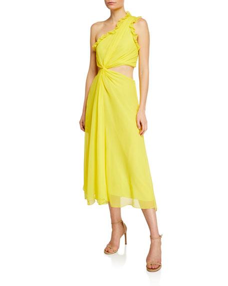 Cinq À Sept Dresses CORINNE RUFFLED CUTOUT ONE-SHOULDER MIDI DRESS