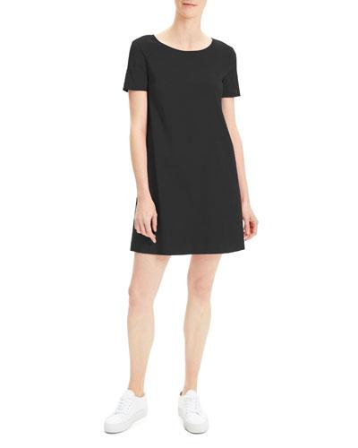 Short-Sleeve Crunch Wash Shift Dress