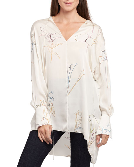 Nature Long-Sleeve Fluid Charmeuse Tunic