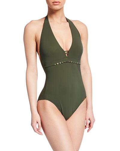 Eclat Elegance Studded Halter One-Piece Swimsuit