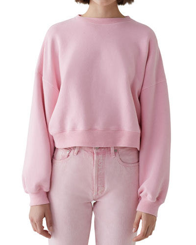 Balloon-Sleeve Cropped Pullover