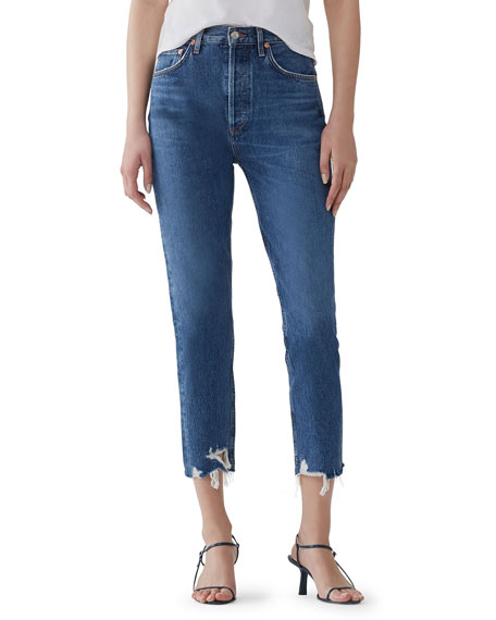 AGOLDE Riley High-Rise Straight Crop Jeans w/ Shredded