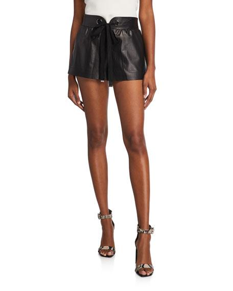 Reggie Faux-Leather Tie-Front Shorts