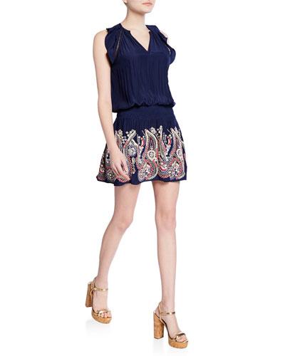 Roxanne Embroidered Sleeveless Short Dress
