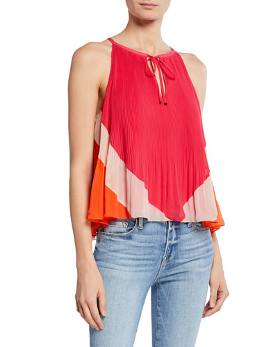 Nitsan Colorblock Sleeveless Pleated Top