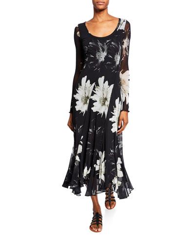 Flower-Print Long-Sleeve Scoop-Neck Seamed Dress