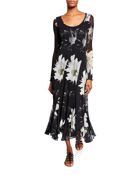 Fuzzi Flower-Print Long-Sleeve Scoop-Neck Seamed Dress