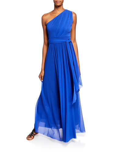 One-Shoulder Belted Tulle Gown