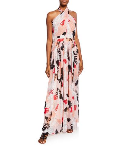 Halter Leaf-Print Backless Gown