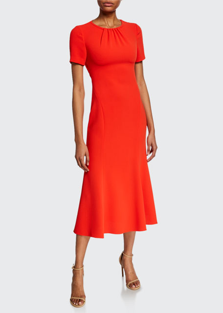 Diane von Furstenberg Rose Short-Sleeve Midi Dress with