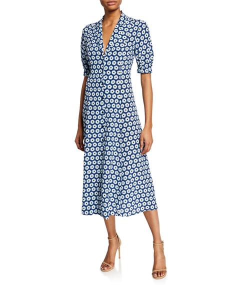 Diane von Furstenberg Lily Floral-Print Button-Front Short-Sleeve