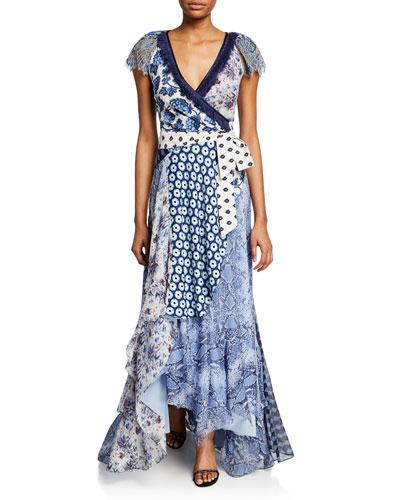 4d9cc483904 Ava Mixed-Print Short-Sleeve Wrap Dress