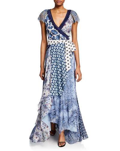 Ava Mixed-Print Short-Sleeve Wrap Dress