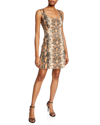 Tessa Snake-Print Sleeveless Dress