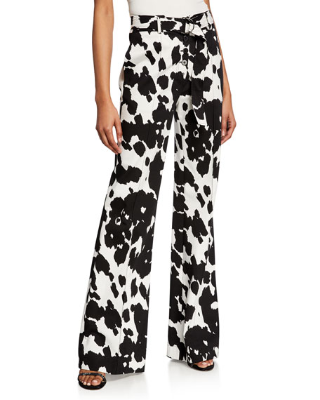 Diane von Furstenberg Joan Belted Animal-Print Boot-Cut Pants