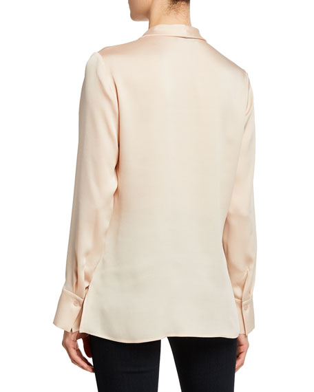 Santos Drape-Neck Long-Sleeve Blouse