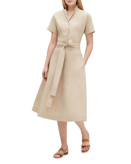 Lafayette 148 New York Varuni Short-Sleeve Belted Shirtdress