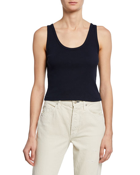 Crop Rib Scoop-Neck Tank