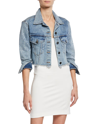 Boxy Cropped Denim Jacket with Crystals